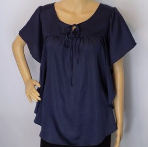 OutBack Red flowing top with tie scoop-neck top